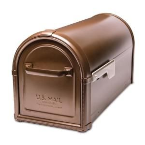 Architectural Mailboxes Oasis 360 Degree Rubbed Bronze Locking Parcel Mailbox With 2 Access Doors And Graphite Flag 6300rz With Images Architectural Mailboxes Mounted Mailbox Post Mount