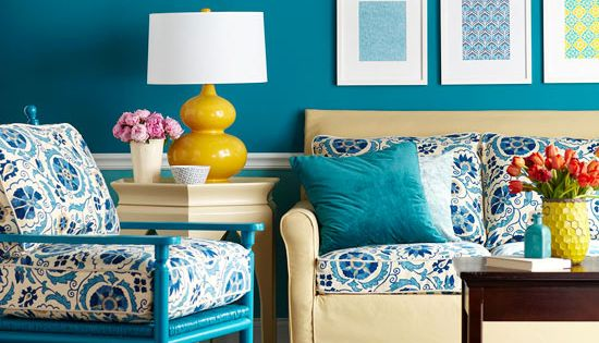 Living Room Color Scheme: Rich Blues, Cerulean Blue walls