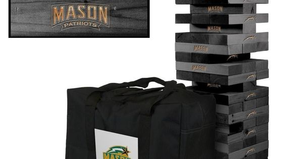 George Mason Patriots Tumble Tower Game Set Onyx Tower Games Tailgate Games Cornhole