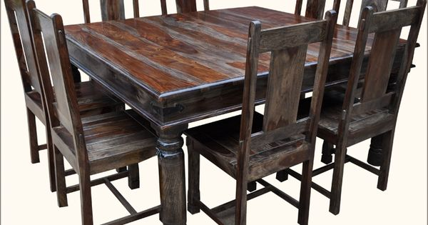 Rustic square solid wood furniture large dining room table for Dining room table 32 wide
