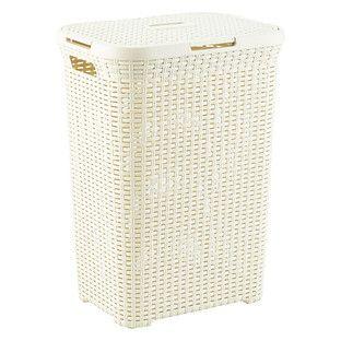 Ivory Rectangular Basketweave Hamper 17 3 4 X 13 1 2 X 24 1 4 H