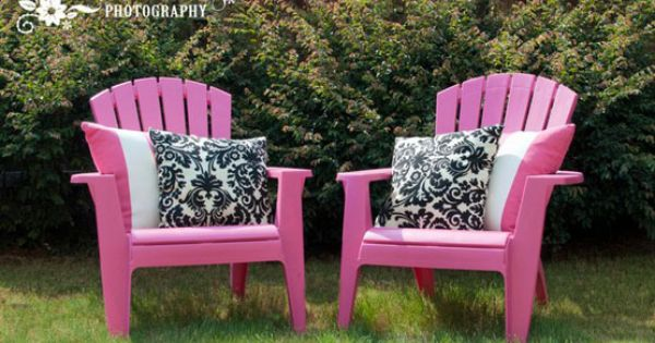 outdoor chairs. pink with black u0026 white! : For the Home : Pinterest : White pillows, White ...