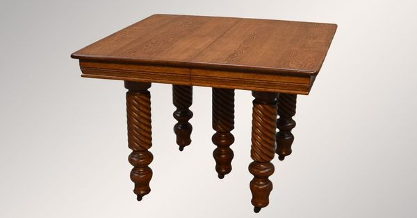 Antique Victorian Square Oak Dining Table With Barley