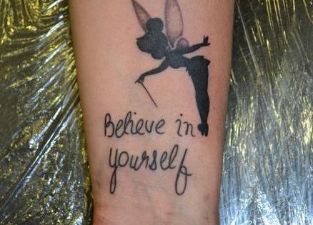 believe in yourself tinkerbell tattoo on wrist tattoos pinterest tinkerbell and tattoo. Black Bedroom Furniture Sets. Home Design Ideas