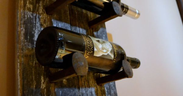 Barn Wood & Railroad Spikes Wine Holder absolutely love this. Maybe as