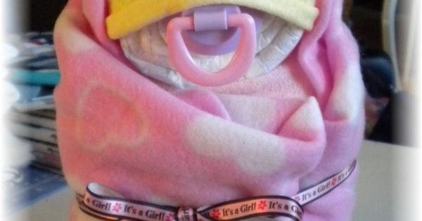 Pamper Me Gift Ideas: Diaper Cake Swaddle Me Girl Baby Shower Gift By