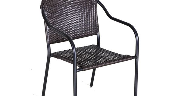 Pelham Bay Dark Brown Woven Seat Steel Stackable Patio