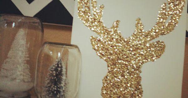 #Glitter Reindeer DIY Snow globe out of mason jar xmas decorations diy