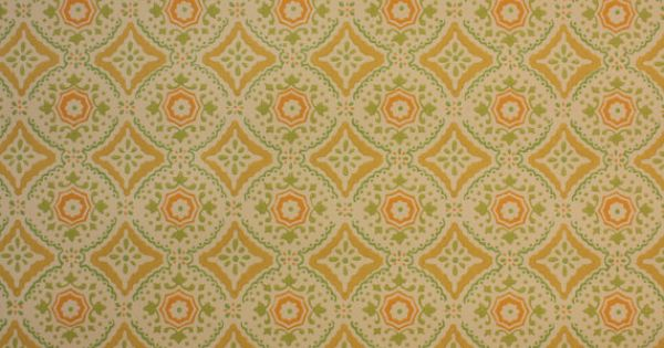 by the Yard 70s ...1970s Wallpaper Green Leaves