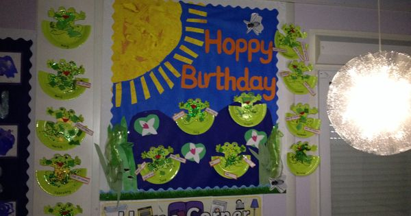 Classroom Decor Pictures ~ Hoppy birthday frog theme board boards and