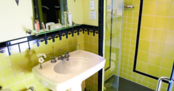 Retro Bathroom With Back And Mustard Yellow Tiles