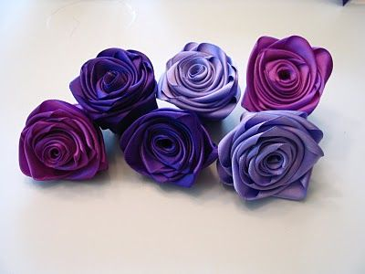 ribbon roses, for the keepsake shadow box with ribbons from my bouquet