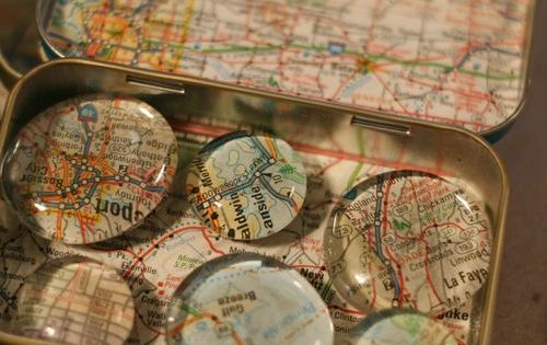 map magnets in a mapped altoid tin, what great stocking stuffers for