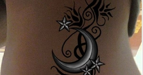 Half moon star tattoos google search hair pinterest for Half moon and star tattoo