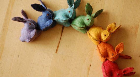 rainbow felt rabbits