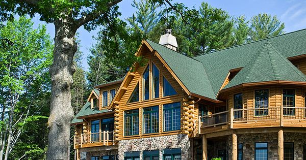 I really enjoy the log cabin look maybe for a vacation home dream home pinterest log - Small log houses dream vacations wild ...