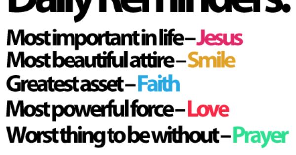 Daily Reminders: Jesus, Smile, Faith, Love & Prayer