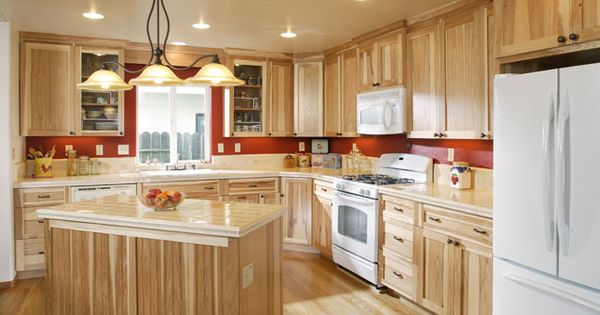 Hickory Cabinets With White Appliances And Light Colored