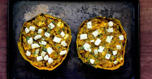 baked squash stuffed with garlic lentils | Zucchini ~ Squash ...