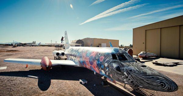 Boneyard plane painted by graffiti artists