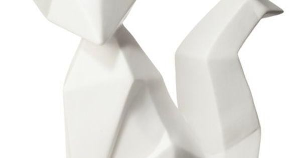 origami fox ceramic