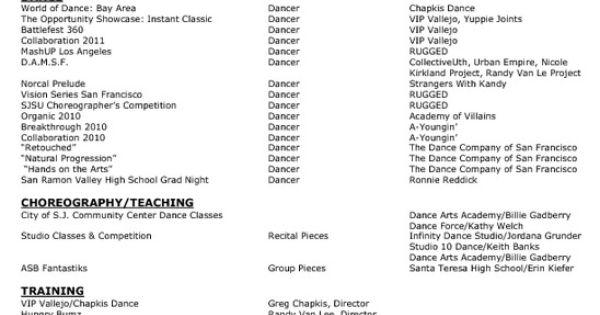 dance resume layout sample    topresume info  dance