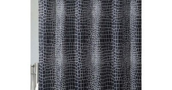 Black White Alligator Printed Fabric Shower Curtain Victoria