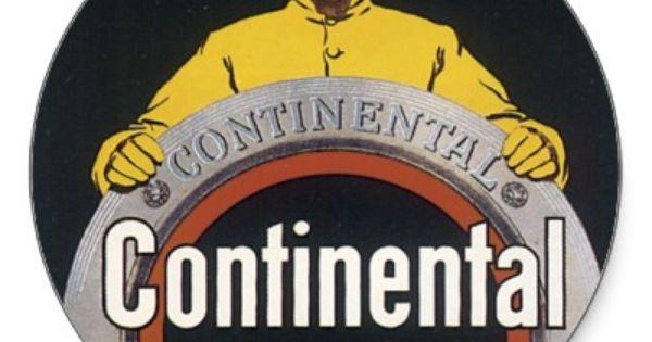 Continental Tire Vintage Car Art Postcard Classic Round