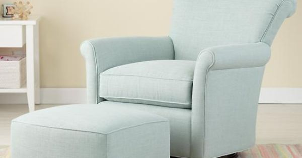 The Land of Nod | Nursery Gliders: Blue Swivel Glider Chair and