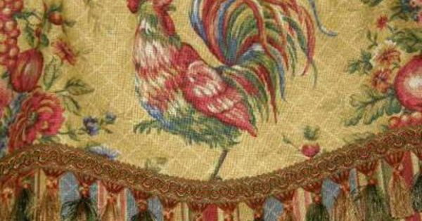 Custom Valance French Country Waverly Fabric Gold Red Rooster Toile Stripe Trim French Country Curtains French Country Fabric Country Curtains