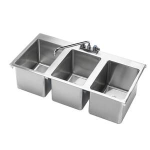 Krowne Metal Hs 3819 3 Compartment Drop In Hand Sink W 12 Spout