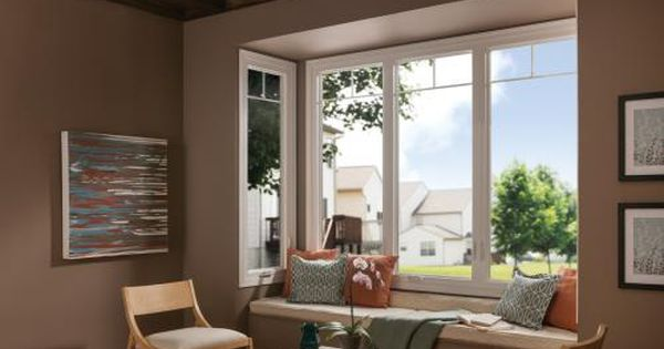 Give Your Front Room A 180 Degree View Featuring Tuscany Series With Multiple Casement Windo Vinyl Window Installation Window Vinyl Vinyl Replacement Windows