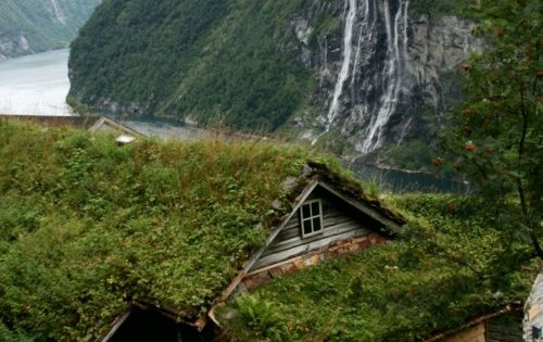 Farmhouse high over Geiranger fjord, Norway. By Raphael Bick. So There could