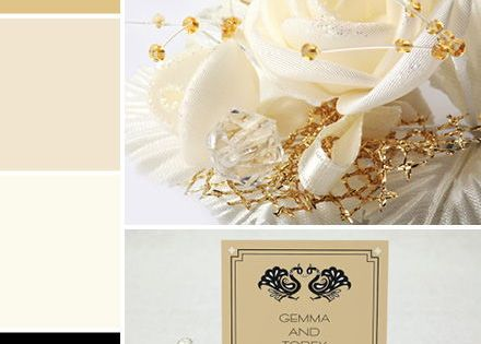 Gold, Champagne, Ivory, and Black Color Palette |