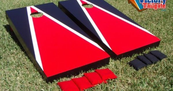 Red Amp Black Custom Painted Cornhole Bag Toss Game Set By