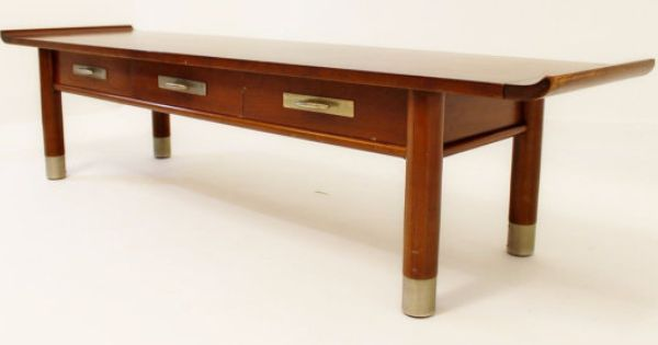 Mid Century Modern Willett Cherry And Brass Asian Style Coffee Table Mid Century Modern Mid Century Modern