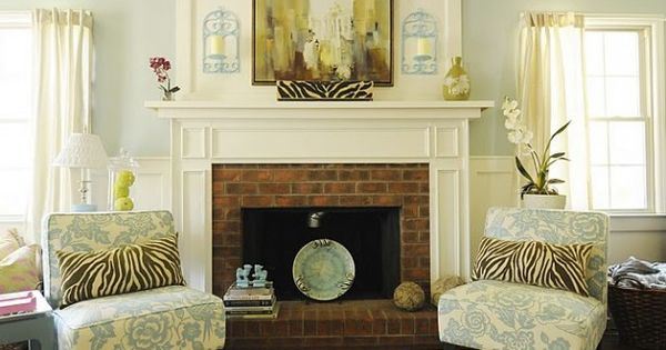 Update Brick Fireplace Design Ideas. Wall color = tidewater Sherwin Williams
