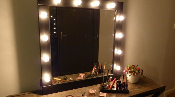 vanity mirror with lights makeup mirror wall hanging or stand alone hollywood style mirror. Black Bedroom Furniture Sets. Home Design Ideas