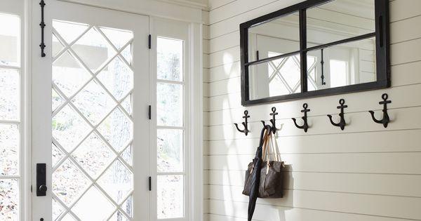 plank walls, anchor hooks + that door mudroom