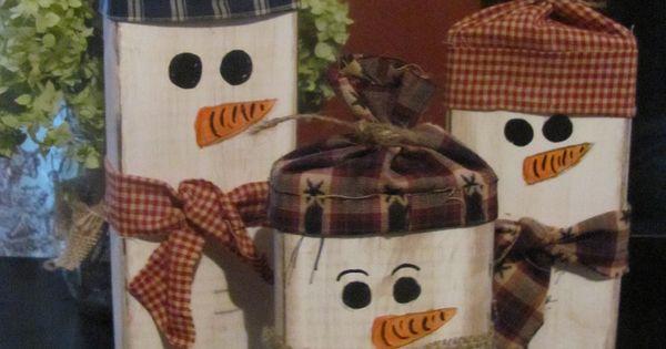 Set of 3 primitive wooden snowmen christmas ideas pinterest best wooden snowmen snowman - How to make a snowman out of wood planks ...