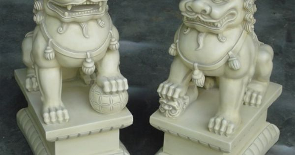 2 Large Asian Foo Dogs Fu Dog Stone Resin Garden Statues