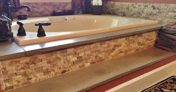 Concrete Bathtub Surround And Travertine Stacked Stone