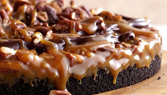 Our Gooey Chocolate-Caramel dessert is topped with a layer of caramel and