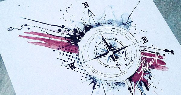 tattoo compass abstract dot red trash polka