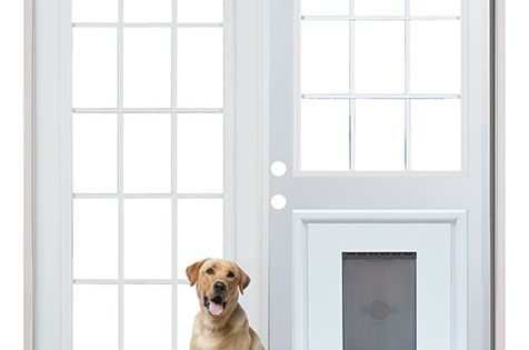 Patio french back doors with pre installed pet doggy door - Interior door with pet door installed ...