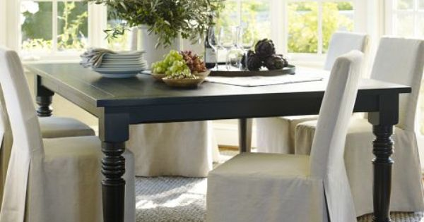 I am dying to have this black square dining table from pottery barn 60 square extends to 92 Restaining kitchen table