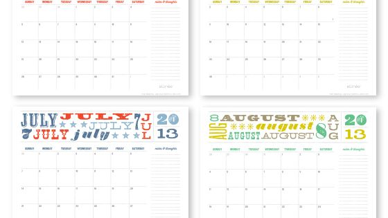 Printable Calendar for 2013 - love this... Subway Art style