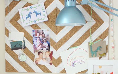 DIY painted cork tile pin board
