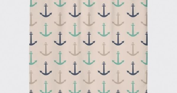 Navy Teal Cream Anchor Nautical Shower Curtain