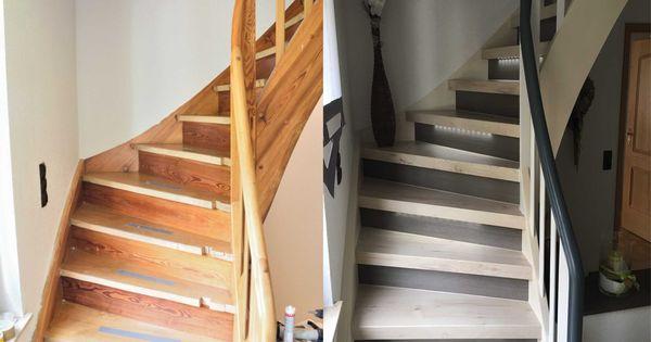 treppenrenovierung mit laminatstufen stufendekor wei er nussbaum und graue setzstufen sowie. Black Bedroom Furniture Sets. Home Design Ideas